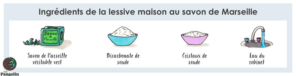 Lessive maison - Cristaux de soude et savon de Marseille