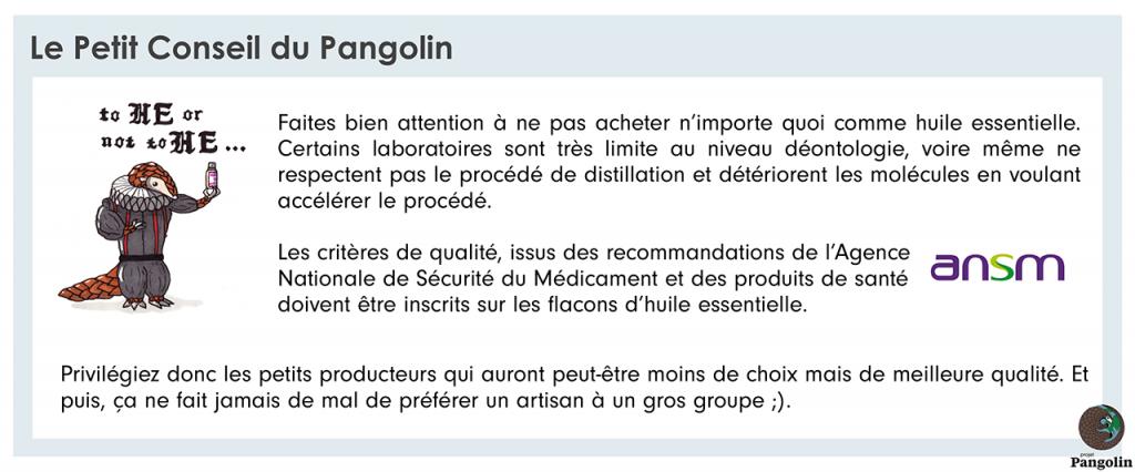 Conseil qualité sur les huiles essentielles