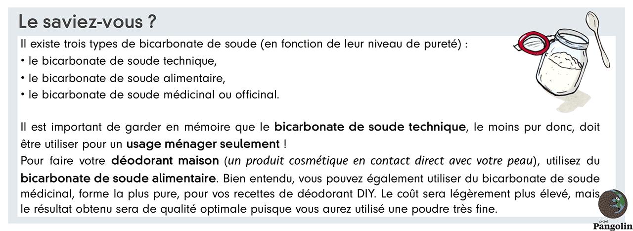 Différents types de bicarbonate de soude