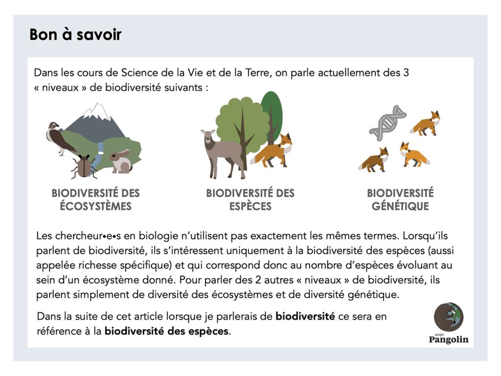 Trois niveaux de biodiversité